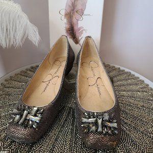 Jessica Simpson Shoes - Jessica Simpson Bronze Sparkle Mesh Flat
